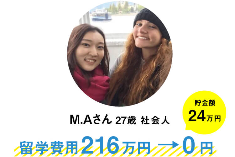 M.Aさん(27歳)会社員。カナダのバンクーバーへの1年間の留学で、他社留学エージェントで留学費用216万円だったのが0円に。さらに貯金24万円もできました。