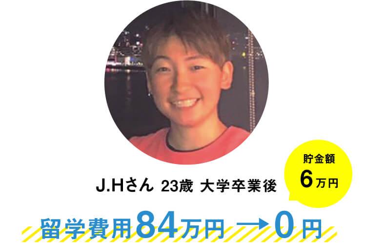 J.Hさん(23歳)大学卒業後。ニュージーランドのオークランドへの1年間の留学で、他社留学エージェントで留学費用84万円だったのが0円に。さらに貯金6万円もできました。